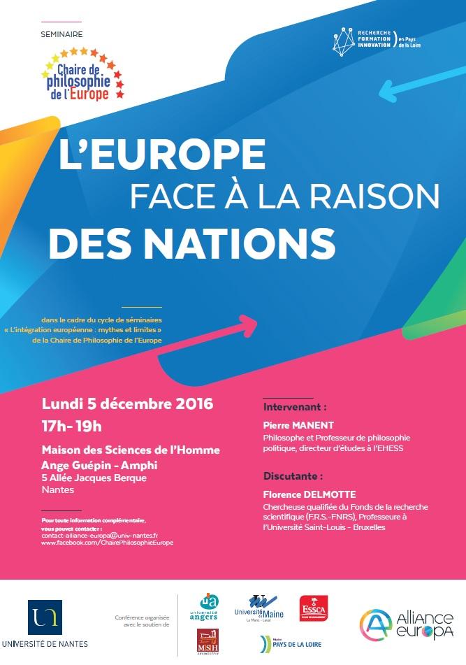 Affiche séminaire L'Europe face à la raison des nations Chaire Philosophie 5 décembre 2016
